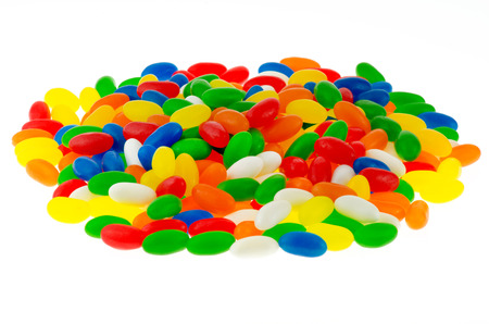jellybean: Pile of colorful jellybean sweets on a isolated white background