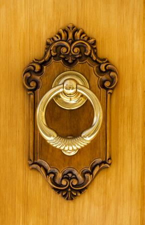 Authentic Modern Spanish Brass Door Knocker. Showing Heavy Brass Knocker  Set In Carved Pine On