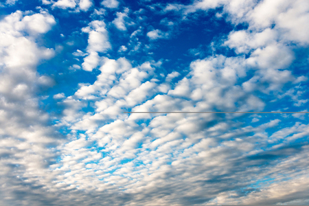 wispy: full image of atmospheric fluffy clouds, ideal for a background Stock Photo