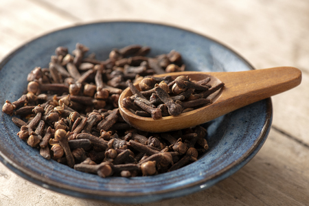 warming macro image of clove spices in a blue bowl with a small wooden spoon , blurred background to ad copy space and text over lay Foto de archivo