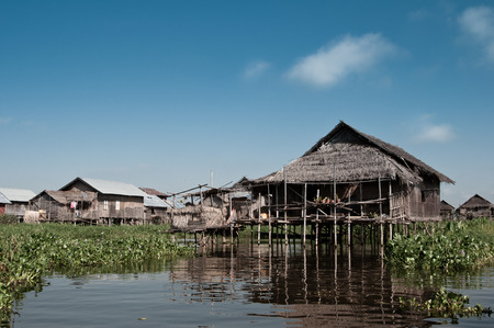 inle: A floating village at the Inle Lake in Myanmar. Stock Photo