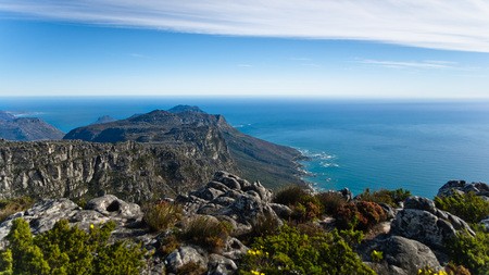 town: The view from the Cape Town table mountain in South Africa. Stock Photo