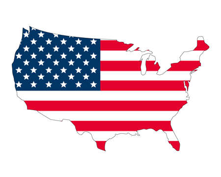 Map of the United States of America and the national flag