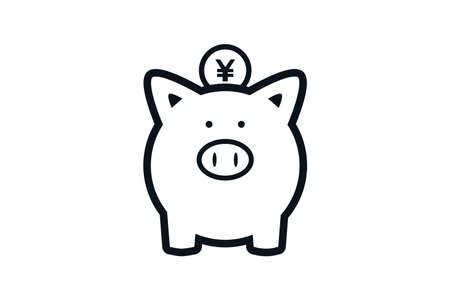 Illustration of Pig piggy bank and Japanese yen. 向量圖像
