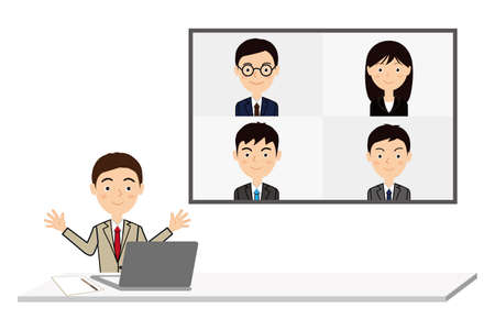 Office workers doing video conferencing. Иллюстрация