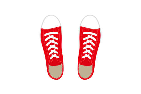 Illustration of casual red sneakers. 向量圖像