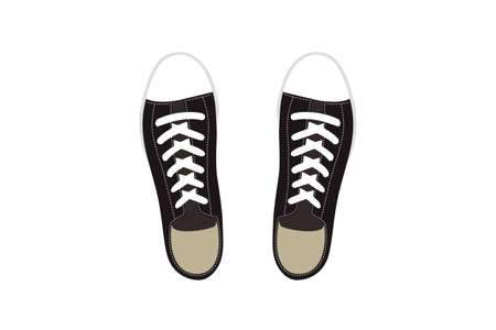 Illustration of Casual Black Sneakers.
