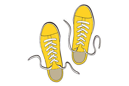 Illustration of casual yellow sneakers. 向量圖像