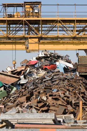 junkyard and crane
