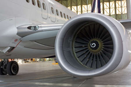 jet engine: Jet engine at aircraft  in the hangar