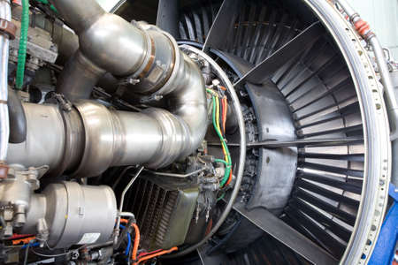 Aircraft jet engine detail Stock Photo