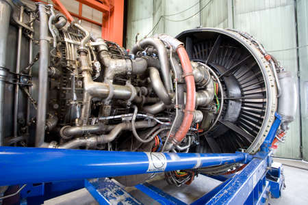 thrust: Aircraft jet engine detail Stock Photo