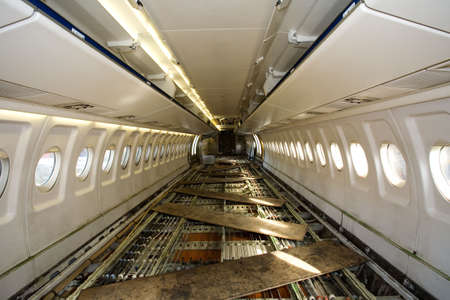 inside an airplane without seats