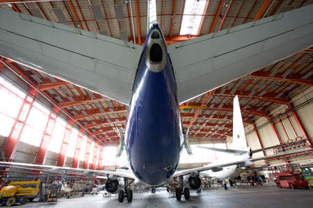 modern airplane in the hangar