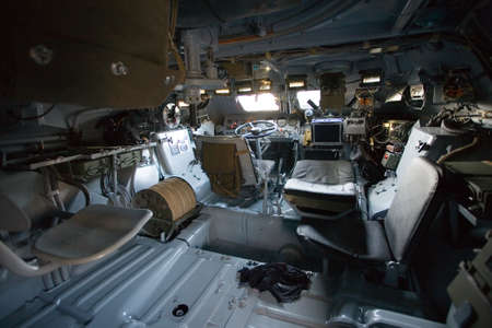 armored military vehicle inside photo