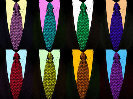 coat and tie: 8 tie and suit in pop-art style Stock Photo