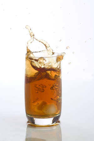 Close up view of the splash in ice tea photo