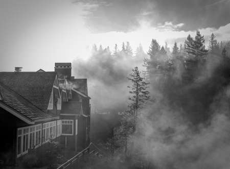 Black & White Photo of a House in the Pacific Northwest - with Heavy Mist, Highlighted by Rays of Sunshine and a Forrest in the Background on a Sunny Day