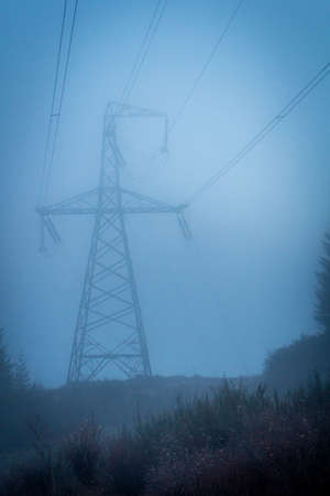 Power Lines Overlooking a Cliff, Covered in Blue Tinted Fog on a Cold, Winter Morning in the Pacific Northwest