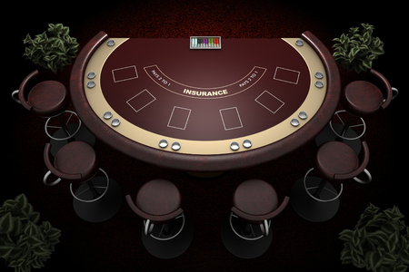 blackjack: blackjack table and chairs with carpet background Stock Photo