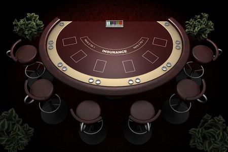 blackjack tafel en stoelen met tapijtachtergrond Stockfoto