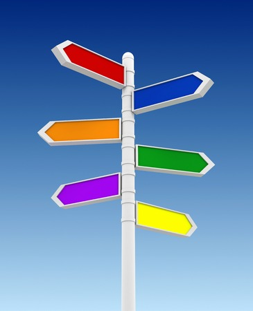 blank signpost 3d illustration on sky background