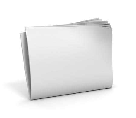 fake newspaper: blank newspaper 3d illustration on white background