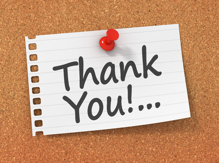 thank you note: pinned thank you note on paper 3d illustration Stock Photo