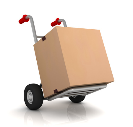 cardboard box and hand truck 3d illustration isolated on white background Stock Photo