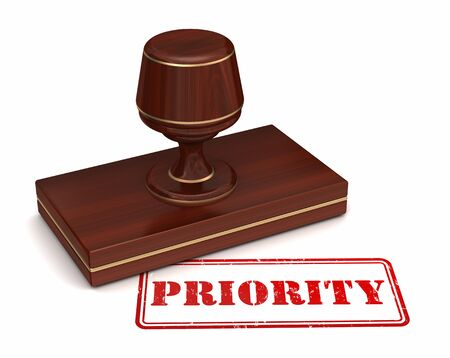 priority: priority stamp 3d illustration on white  background