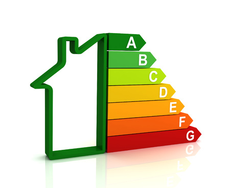 building regulations: energy efficiency bar chart 3d illustration isolated on white background Stock Photo