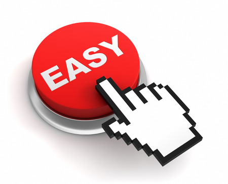easy button 3d illustration isolated on white background Stock Photo