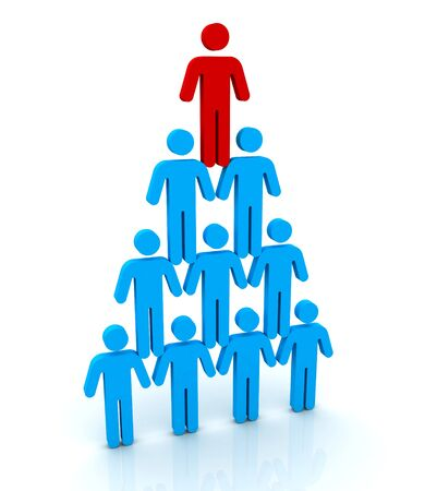 human pyramid: human pyramid 3d illustration isolated on white background