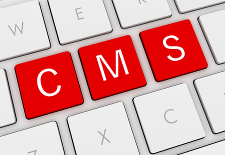 cms-toetsenbord 3d illustratie op witte achtergrond wordt geïsoleerd die Stockfoto