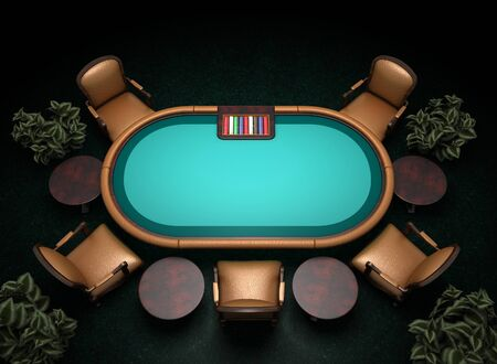 poker table and chairs on carpet 3d illustration Imagens