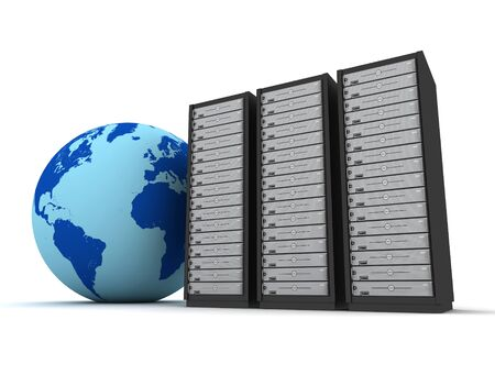 hub computer: globe and server racks 3d illustration isolated on white background Stock Photo