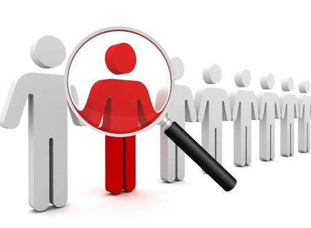 searching person 3d illustration isolated on white background Stock Photo