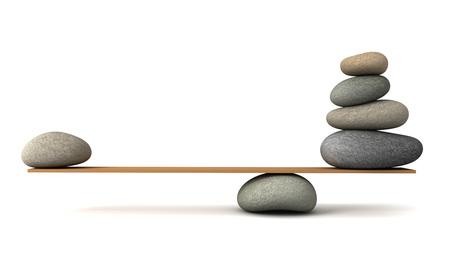 Balancing Steine ??3D-Darstellung auf weißem Hintergrund Standard-Bild