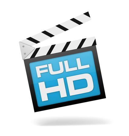 full hd: full hd 3d illustration isolated on white background Stock Photo