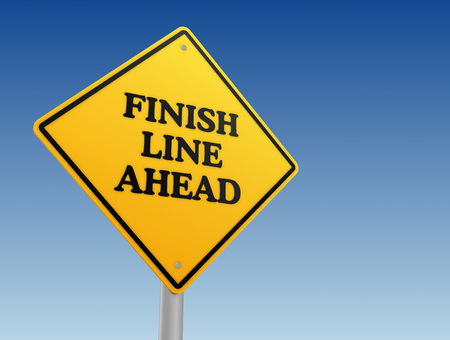persevere: finish line ahead road sign 3d illustration Stock Photo