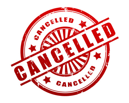 canceled: cancelled stamp 3d illustration isolated on white background Stock Photo