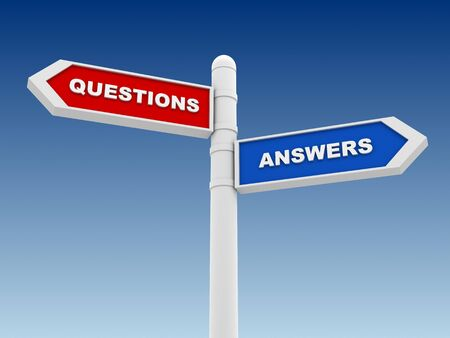 questions answers: questions answers direction sign 3d concept illustration