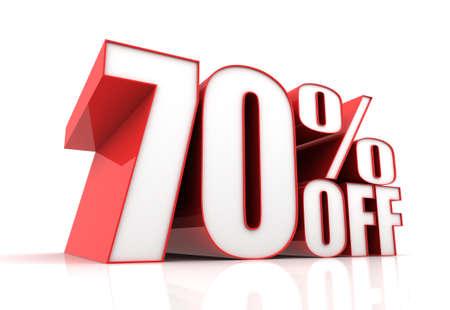 seventy: seventy percent off sale 3d illustration isolated on white background