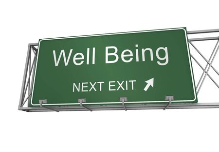 well being road sign 3d concept illustration on white background Stock Photo