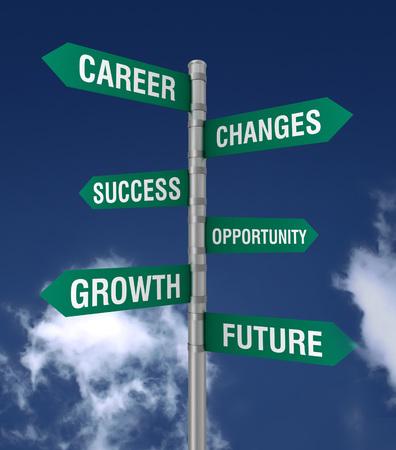 past: business changes direction sign 3d concept illustration
