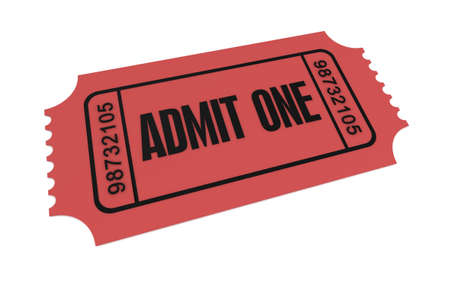 ticket admit one 3d illustration isolated on white background