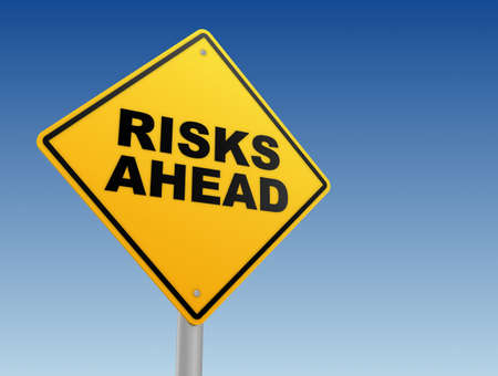 risks ahead yellow road sign 3d concept illustration
