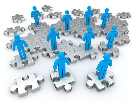 working together: puzzle people 3d illustration isolated on white background