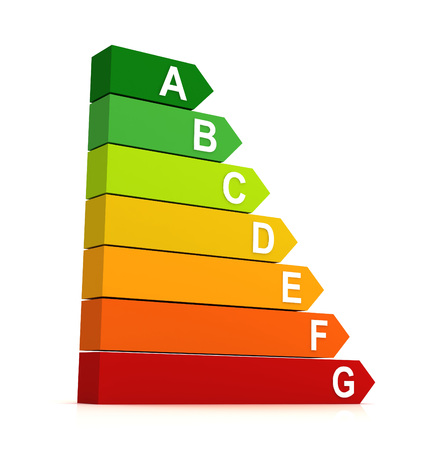 Energieeffizienz Balkendiagramm 3d 3D-Darstellung auf weißem Hintergrund