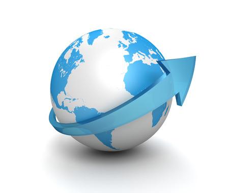 surround system: globe surrounding arrow 3d 3d illustration isolated on white background Stock Photo